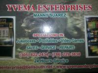 YVEMA ENTERPRISES. SPECIALIZE IN JUKEBOXES - POOLTABLES