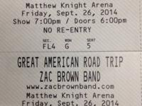 2 tickets tickets to see the Zac Brown Band in Eugene