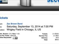 Zac brown band tickets (2) section 215 row 16 seats 1