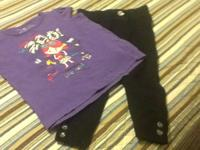 T-shirt sz 3t - purple shirt, lots of glitter, cute zoo